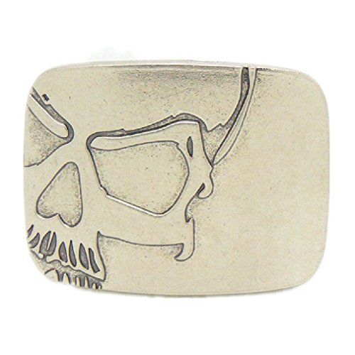 Unique Skeleton Skull Head Smooth Blank Rectangle Belt Buckle Silver Mens - Skull Unique Skeleton
