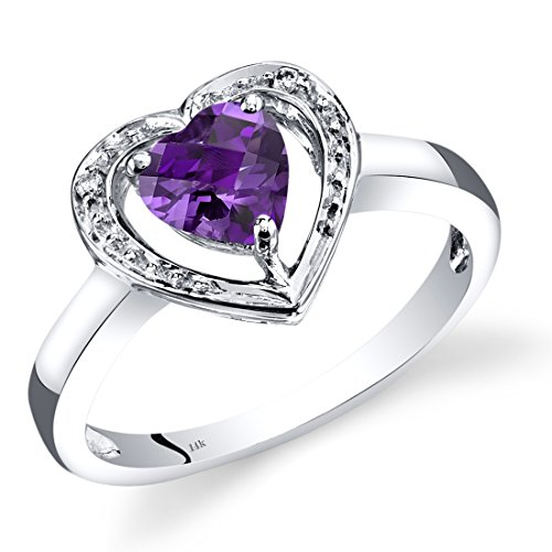 14K White Gold Amethyst Diamond Heart Shape Promise Ring 0.75 Carats Total