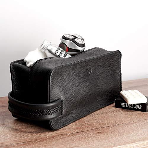 Capra Leather Toiletry Bag for Men, Black Handmade Travel Dopp Kit, Wash Shaving Pouch, Waterproof Toiletries Storage. Groomsmen & Mens Gifts by Capra Leather