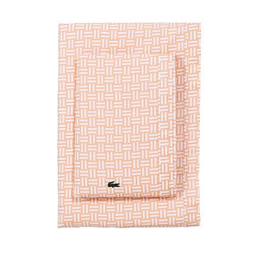 - Lacoste 100% Cotton Percale Sheet Set, Basketweave Print, Iced Apricot, Twin Extra Long
