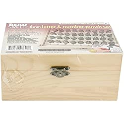 Beadaholique Beadsmith 36-Piece Letter and Number Punch Set with Wooden Case for Stamping Metal