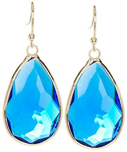 Swiss Quartz - Swiss Blue Quartz Gold Clad Pear Shaped Wholesale Gemstone Fashion Jewelry Drop Earrings