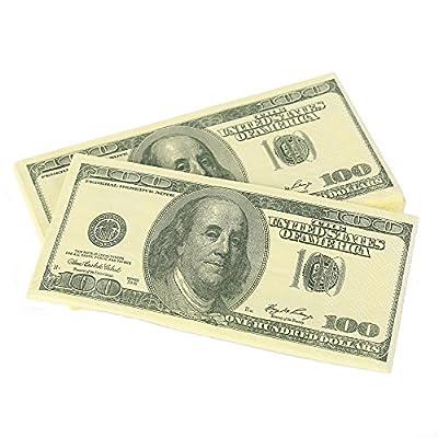 Warmtree $100 Dollars Bill Funny Money Napkin,4 Packs(40 Napkins in Total)