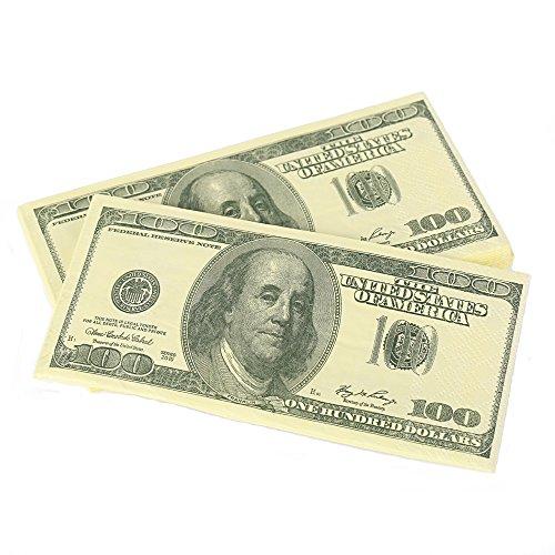 - Warmtree $100 Dollars Bill Funny Money Napkin,4 Packs(40 Napkins in Total)