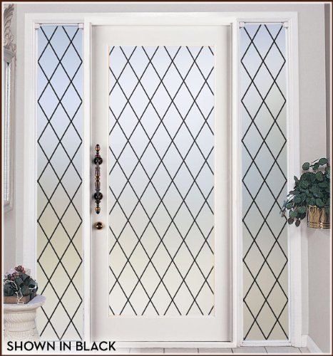 Orleans Black Leaded Glass Privacy Static Cling Window Film - 16 in x 78 in