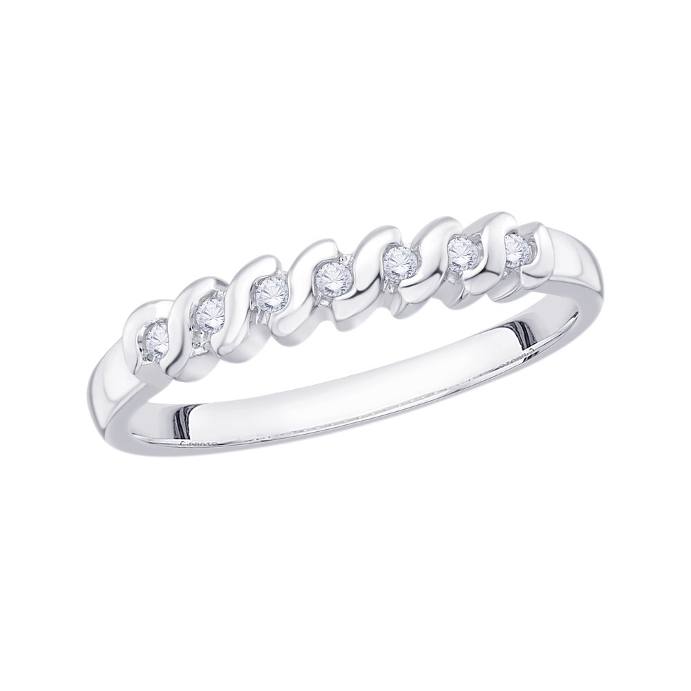1//10 cttw, Diamond Wedding Band in 14K White Gold G-H,I2-I3 Size-3.75