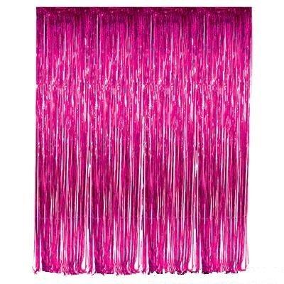 Set of 2 Fuchsia Foil Fringe Door & Window Curtain Party Decoration 3' X 8' (36
