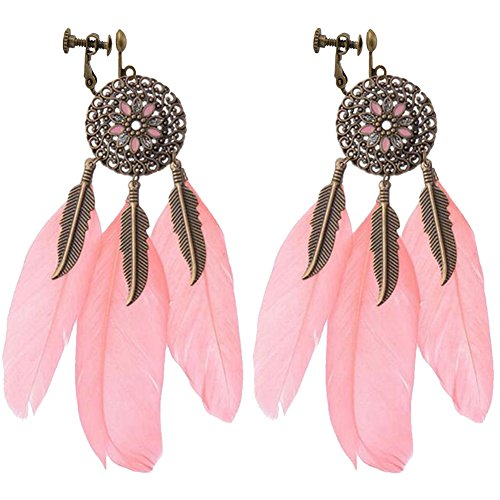 Leaf Earrings Vintage Clip Ons - Vintage Hollow Round Flowers Clip on Earrings Dangle Long Leaf Feather Tassel for Girls Women (Light Red)