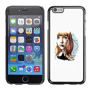 TopCaseStore / la caja del caucho duro de la cubierta de protección de la piel - Girl Cartoon Minimalist White - Apple iPhone 6 Plus 5.5
