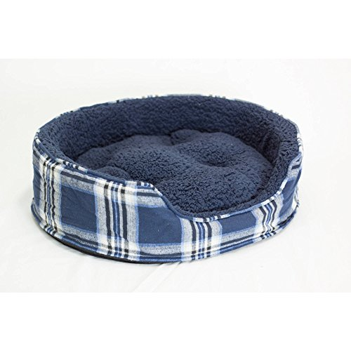 Fleece Nest Dog Bed - 1 Piece Midnight Blue Tufted Extra Large 30 Inches Plaid Flannel Oval Comfort Pet Bed, Blue White Nest Dog Bedding Snuggly Faux Sheepskin Fiber-filled Removable Cover Cozy Cuddler, Fleece Polyester
