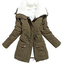 Liran Women's Winter Warm Wool Cotton-Padded Coat Parka Long Outwear Jacket Asian Size
