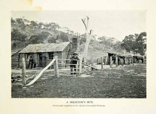 1910 Print Selector's Hut Australian Historical Image Land Victoria Selection - Original Halftone - Hut Australian