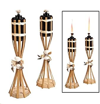 Beau Set Of 2   Luau Tabletop Tiki Torches Bamboo Seashell Polynesian