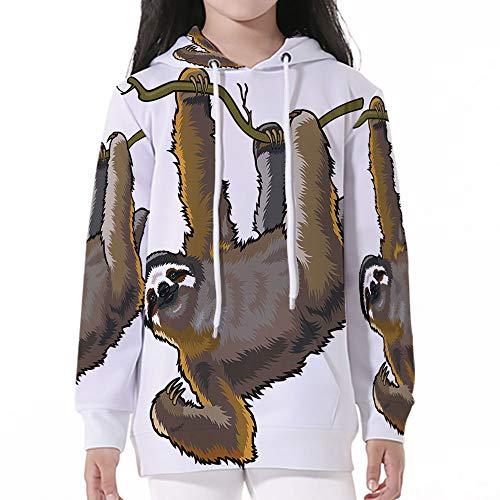 Sleeve Hooded Sweatshirts,Animal Decor,Cartoon Like Sloth Bear Tropic Wild Cute