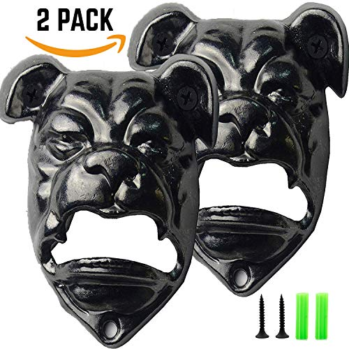 Wall Mount Bottle Opener BULLDOG [ 2 PACK ] Easy Mount with Free Screws, Novelty Beer Lovers, Gifts for Men & Women, Christmas Gift Exchange Ideas, Birthday and Housewarming Gifts   ()