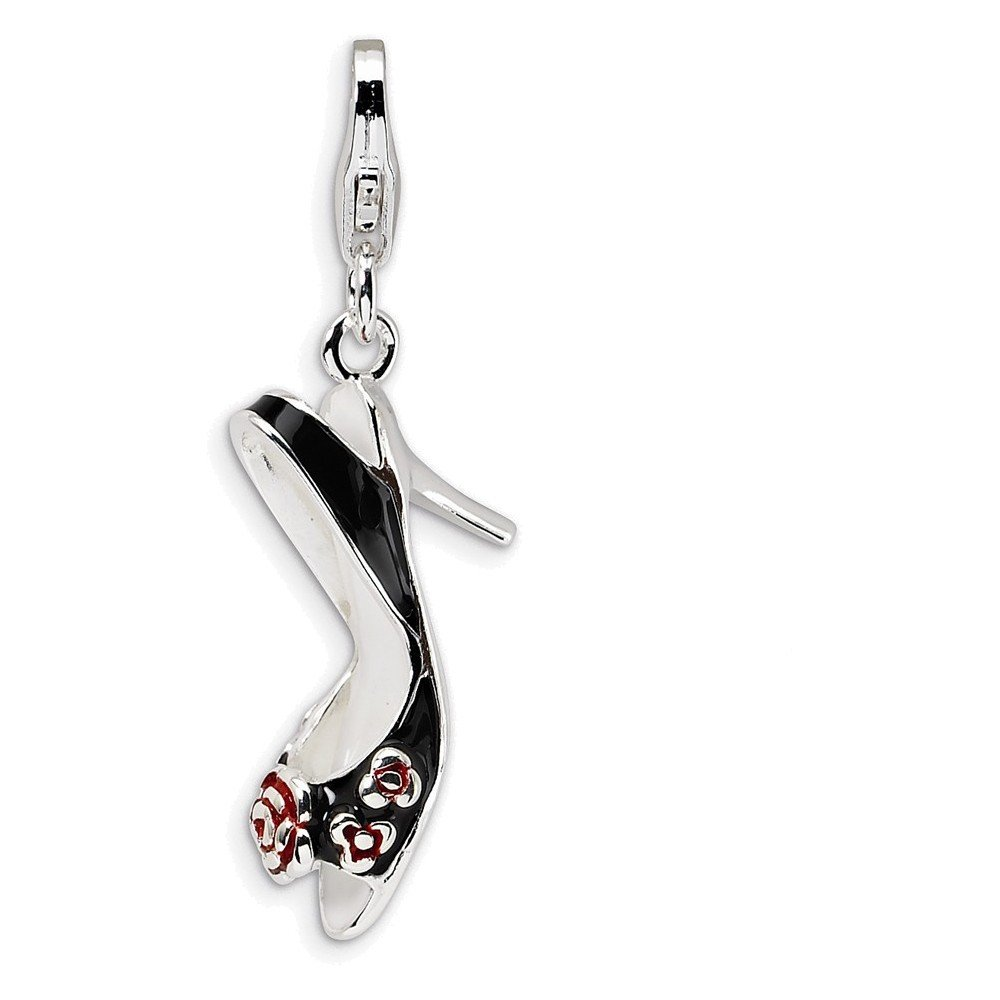 Jewelry Adviser Sterling Silver 3-D Enameled High Heel w//Lobster Clasp Charm