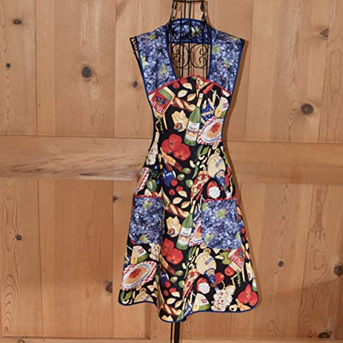Hand Made Aprons by Cindy | Comfortable Pull Over Wide Shoulder Strap Retro Style Aprons with Pockets | Available in a Variety of Adorable Prints (Food Print Black) ()