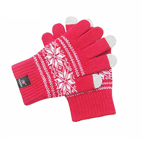 Jenny Shop Knitted Jacquard Touchscreen Texting Gloves for Smartphones & Tablets, Outdoor Men's/Women's Warm Knit Winter Gloves - (Women Knitted Uggs)