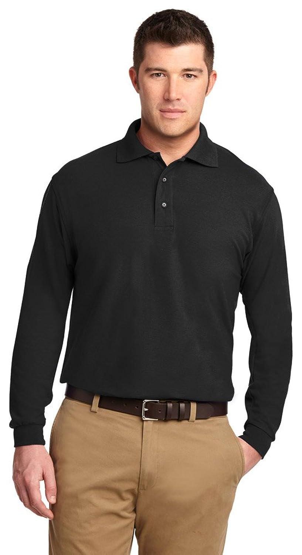 Port Authority Tall Silk Touch Long Sleeve Polo Shirt, XLT, Black