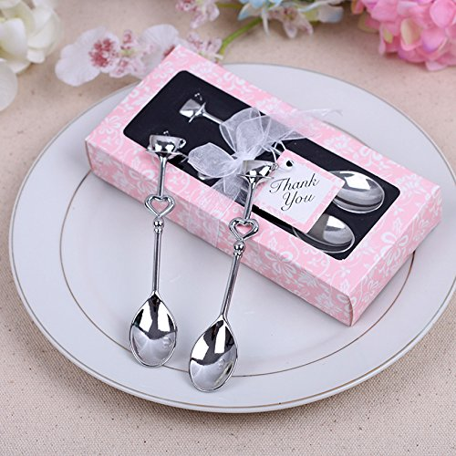 Couple Coffee Spoon Wedding Favors and Gifts Wedding Gifts for Guests Wedding Souvenirs Party Supplies (100) (Pink, 100pcs)