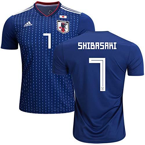 アンカーより平らな博覧会サッカー日本代表ワールドカップ2018ホーム半袖ユニフォーム (ダークブルー)(男性)#7 柴崎岳