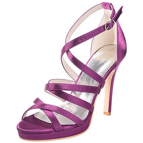 Loslandifen Donna Open Toe In Raso Cinturino Alla Caviglia Con Tacco Alto Scarpe Da Sposa Da Sposa Viola-b