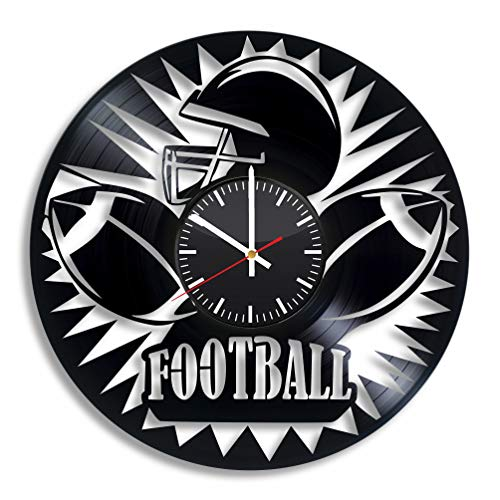 - Football Vinyl Wall Clock, American Sport Game Art Handmade Gift Idea for Any Occasion, Original Home Room Kitchen Decor, Vintage Modern Style Theme