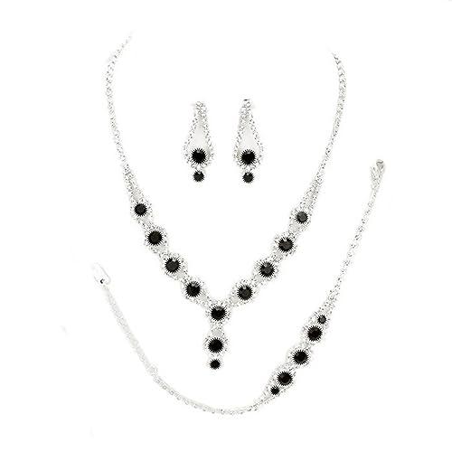 Amazon.com  Christina Collection Affordable Wedding Jewelry Clear Bubble  Rhinestone Pave Elegant Drop Set 3 Pcs Bracelet Earrings Necklace Set  (Black)  ... 56a13b001058