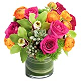 Happiness Bouquet in Glass Vase Valentine's Day Gift Flowers Deal