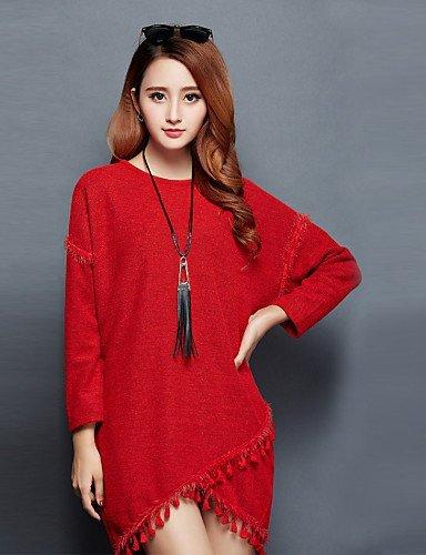 GSP-Damen Kleid - Übergrößen Übergröße / Leger Solide Mini Baumwolle / Acryl Rundhalsausschnitt