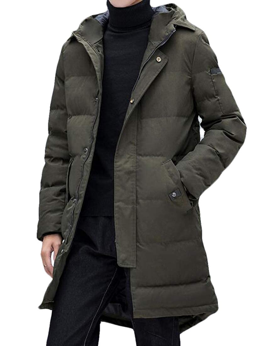 CRYYU Men Winter Long Sleeve Zip Up Thicken Fur Coat Puffer with Removable Hood