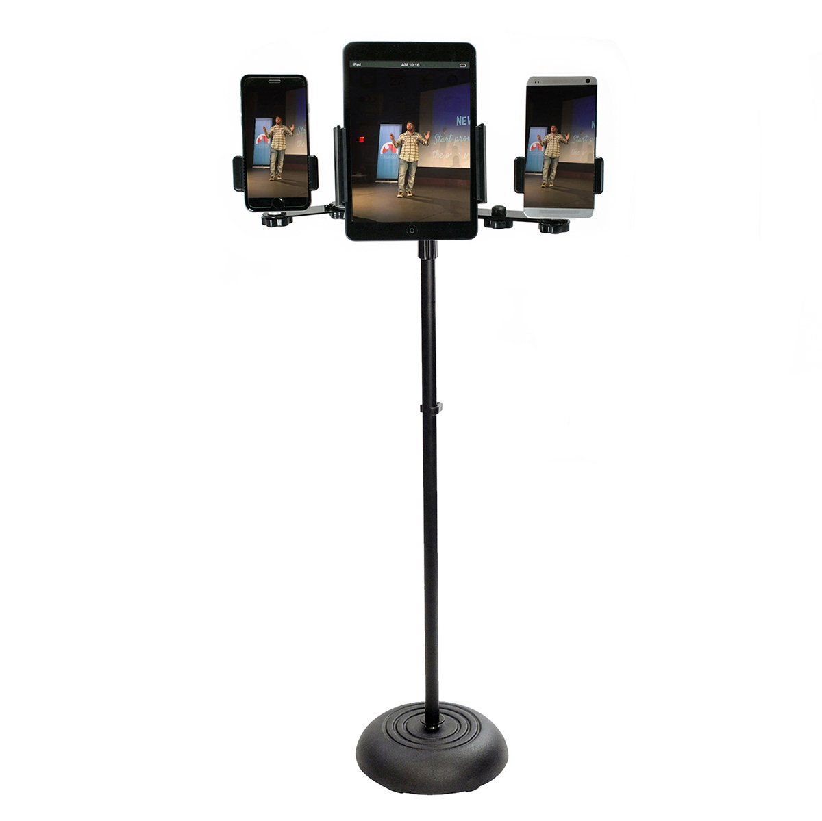 Livestream Gear - Tablet & Phone Mic Stand for Live Streaming at Events. Mount Multiple Phones and a Tablet During Events. (4 Device Mic Stand) by Livestream