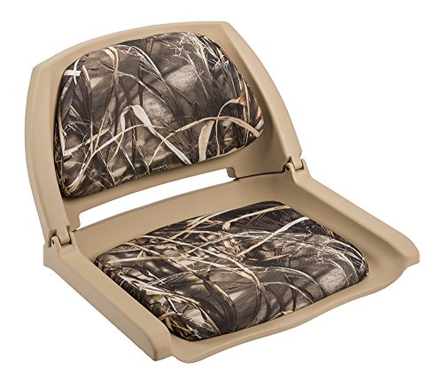 Wise Folding Boat Seat with Plastic Frame and Cushion Pads (Tan, Advantage Maxx 4 Camo)