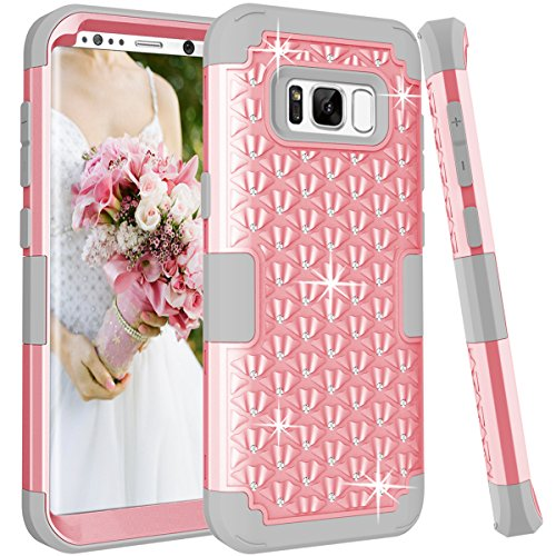 Galaxy S8 Case, KAMII [Diamond Series] Shockproof 3in1 Hard PC+Silicone Hybrid Studded Rhinestone Crystal Bling Diamond Full Body Protection Case Cover for Samsung Galaxy S8 (Pink+Grey)