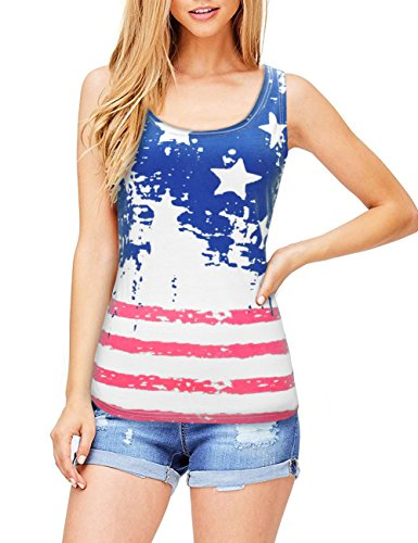 4th Of July Costumes Uk (LaLaMa Women USA Flag Shirt Tank Top Loose Sleeveless Casual T Vest For American)