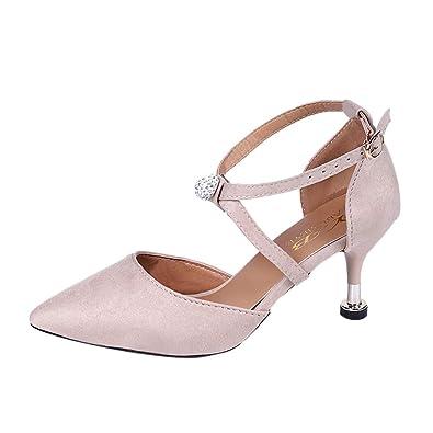 Solike Chaussures Escarpins Femme Bride Cheville Sexy Talon Aiguille  Fermeture Boucle Cheville Escarpins de Mariage Club 19e425ecc088