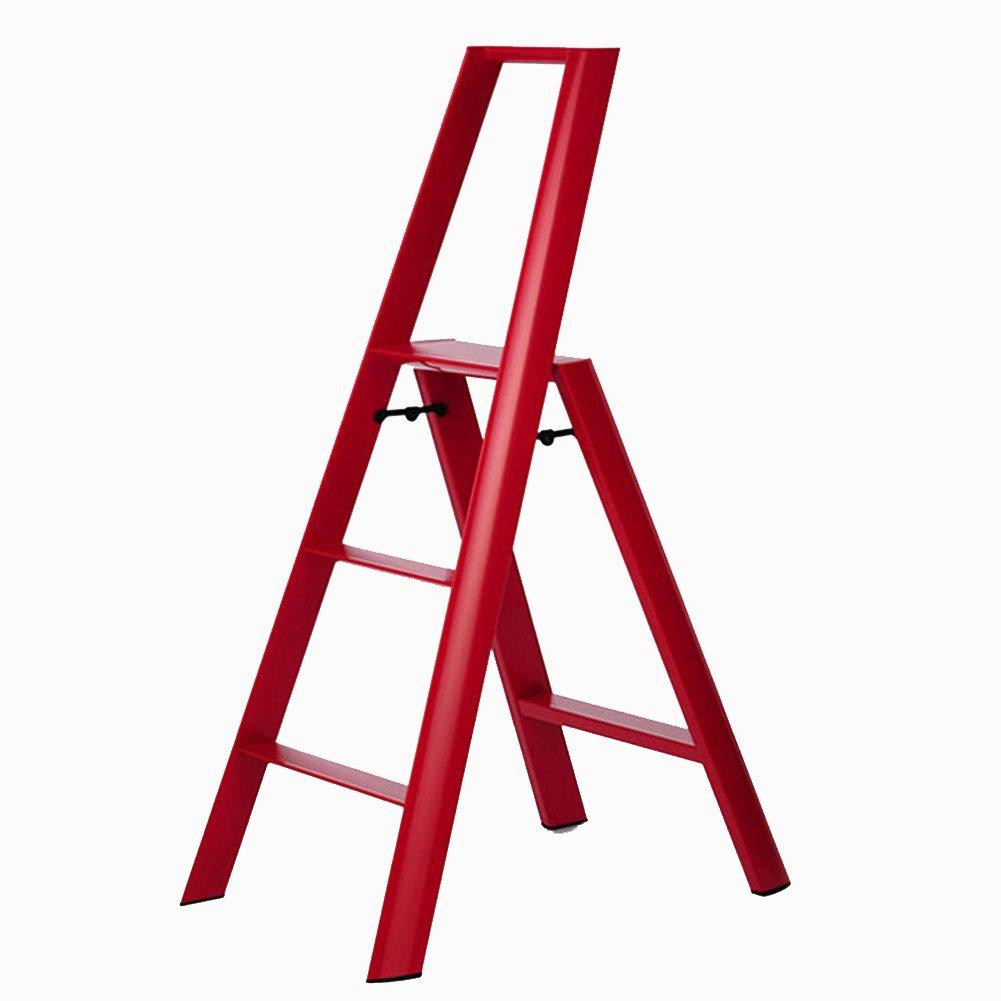 スリーステップラダースツール3ステップノンスリップフォールディング家庭用二重使用屋内 (色 : 赤) B07DF7KM81 赤 赤