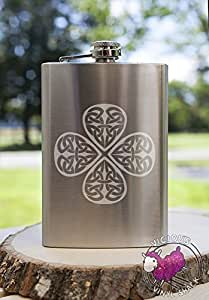 Celtic Shamrock Knot Clover 8oz Etched Metal Flask Booze Alcohol College Brewing Vodka Whiskey Whisky Rum Tequila Funny Pretty Fancy Irish St Patricks Day College Love Forever Birds Always Endless