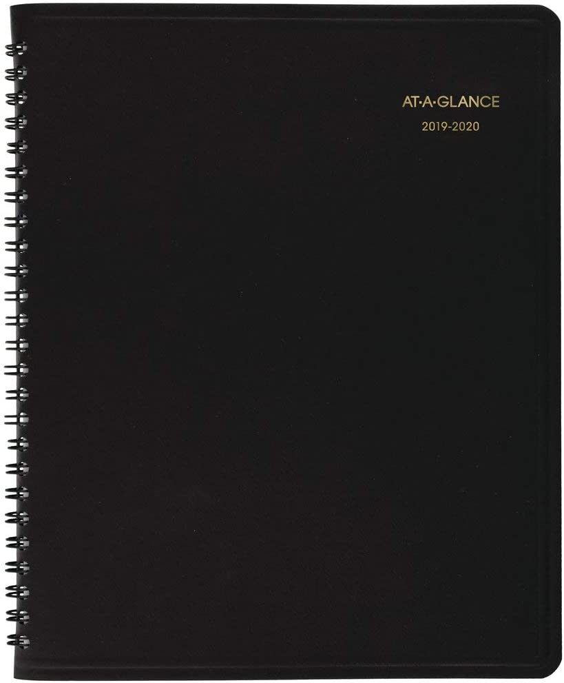 """AT-A-GLANCE 701270520 2019-2020 Academic Monthly Planner, 7"""" x 8-3/4"""", Black (7012705), Medium"""