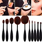 Yoyorule High Quality 10pcs Soft Oval Foundation Makeup Brush Sets Powder Blusher Toothbrush Curve Cosmetic Makeup Brushes Tool