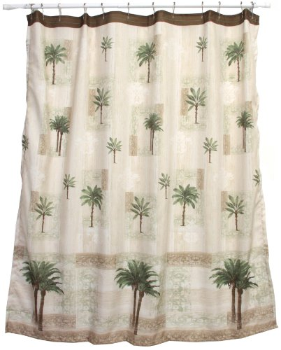 Bacova Guild Citrus Palm Fabric Shower Curtain, Beige/Green - Made of 100-percent polyester Machine washable 70-Inch wide by 70-inch long - shower-curtains, bathroom-linens, bathroom - 51I2evcE9jL -