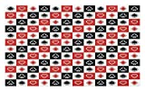 Lunarable Casino Doormat, Card Suits Advertising Leisure Luck Gaming Entertainment Repeat Illustration, Decorative Polyester Floor Mat with Non-Skid Backing, 30 W X 18 L Inches, Red Black White