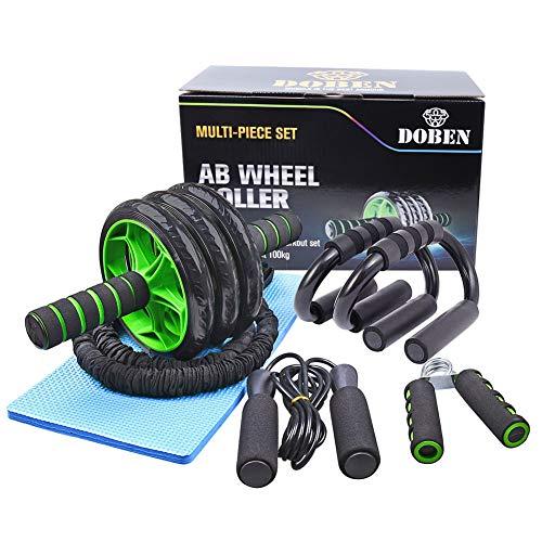 DOBEN 6-in-1 buikspiertrainer-afrollerset met 1 x kniebeschermer, 2 x push-uphandgrepen, 2 x fitnessweerstandsbanden, 1…