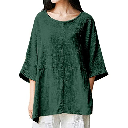 Syban Womens Cotton Linen Thin Section Loose Long-Sleeved Blouse T-Shirt Pullover …