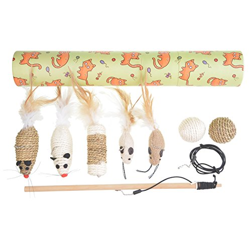Dimaka Cat Toys, Combo Package, 1 Natural Wood Wand with 5 Refill Teaser Feather Ringing Toys, 1 Sisal and 1 Grass Ball, 1 Backup Rope, Value Set