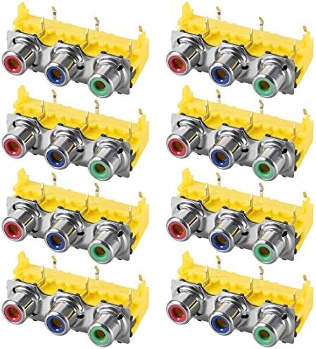 uxcell PCBパネルマウント トリプルRCAソケットメスジャック オーディオビデオAVコネクタ レッドブルーグリーン 8個