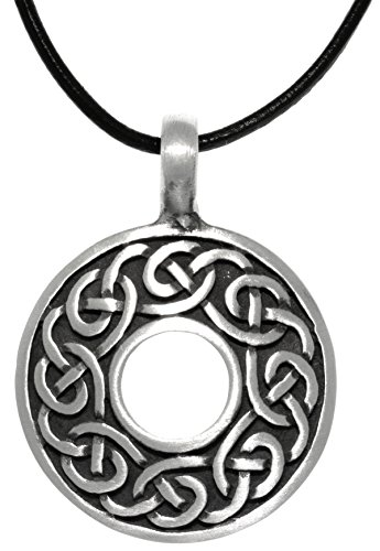 Jewelry Trends Pewter Celtic Knot Round Ring Pendant on Black Leather (Braided Round Pendant)