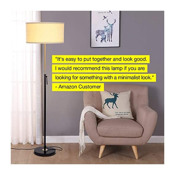 """Brightech Telescope - Black & Gold Modern Floor Lamp for Bedroom - Tall, Height Adjustable Pole Light for Living Room & Office Lighting - Standing Lamp, Antique Brass - with LED Bulb - UNIQUE MODERN DESIGN THAT LOOKS GREAT WITH ANY DECOR: The Brightech Telescope LED Floor Lamp is stylish, unique, and convenient too, and will get your guests talking about all its amazing features. The gold accents on the pole, base, and socket stand out in either color and create a touch of elegance in any space. The height adjustable pole means that you can set the scene exactly how you want it. It's pairs well with modern, minimalist, contemporary, and rustic decor schemes. BEAUTIFUL WARM LIGHT FOR HOME & OFFICE; FITS IN NARROW SPACES An alternative to unpleasant overhead lights, the Telescope LED lamp provides soft yet plentiful room lighting to enlighten your indoor space. It's perfect for bedrooms or living rooms, and the slim design allows for easy placement. It fits perfectly behind sofas or next to end tables, to shine overhead with a warm, inviting glow that isn't harsh or glaring. SPECS: ALEXA & GOOGLE COMPATIBLE, HEAVY BASE, 65"""" TALL: Works with smart outlets that are Alexa, Google Home Assistant, or Apple HomeKit enabled, to turn on/off. (Requires smart outlet sold separately.) Brightech designed this lamp with safety in mind. Its weighted base keeps it from tipping easily. Shade 9"""" tall by 18"""" diameter. - living-room-decor, living-room, floor-lamps - 51I2fc5BqKL. SS570  -"""