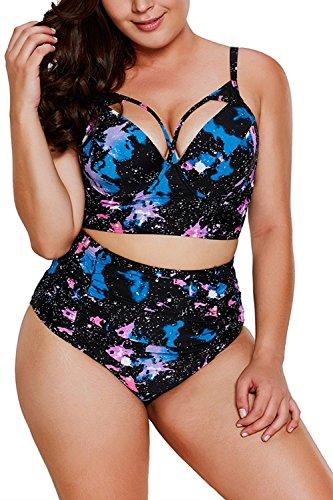 C2U Apprael ReachMe Womens Plus Size Swimsuit High Waisted Strappy Push up Halter Bikini Set(Night,XL)