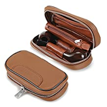 Scotte(TM) Leather pipe tobacco pouch case for 2 tobacco pipe and other accessories